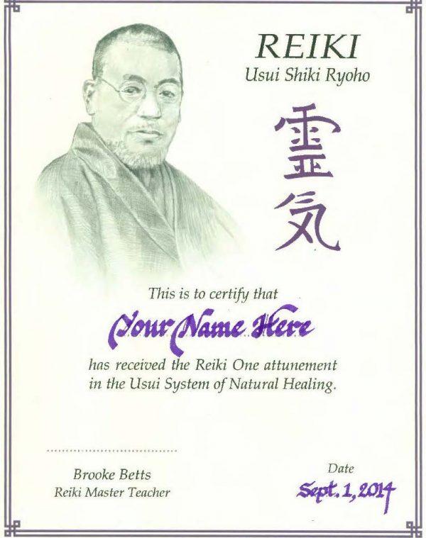 Reiki I course certificate