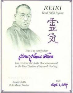 reiki 1 online class certificate