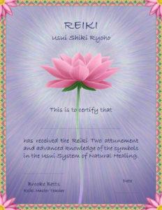 Reiki II certificate