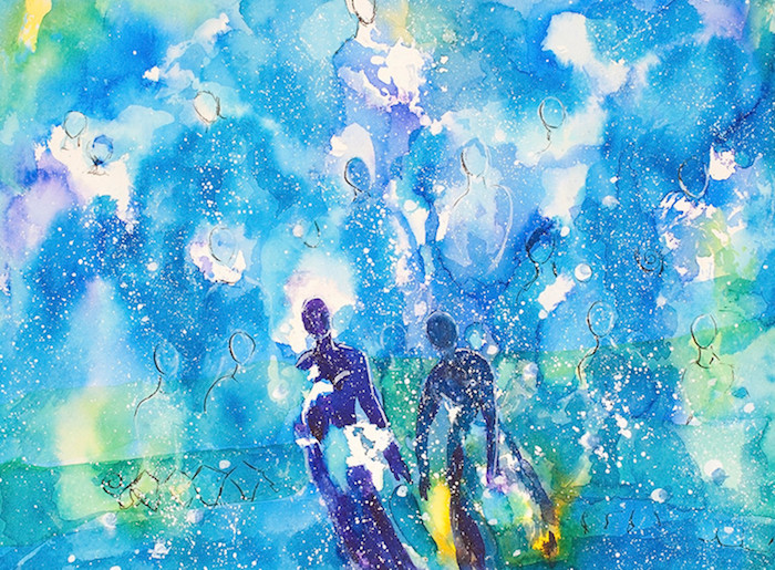 People healing past lives watercolor
