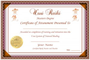 Reiki training course certificate