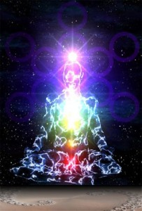 Reiki energy lighting up the chakras